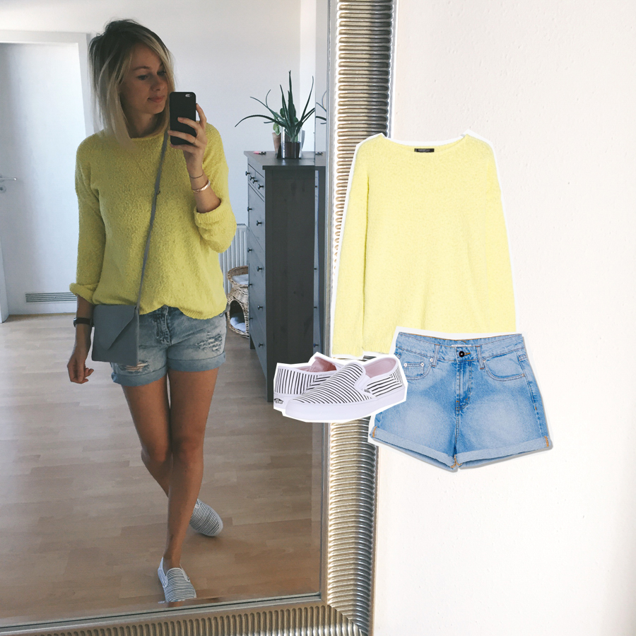 outfit grey yellow denim